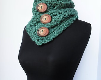 Big Button Cowl in Leaf Green Hemp Wool Neck Warmer Thick Chunky Scarf Eco Friendly Ready to Ship