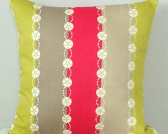 Striped Decorative Pillow Cover - Chartreuse Pink Taupe Striped Pillow - Modern Pillow - Striped Bedding