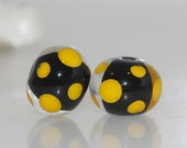 Black and Golden Yellow Polkadot Lampwork Glass Bead Pair