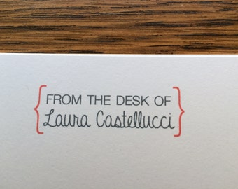 Personalized Stationey Set of 12 Cards Brackets Full Name From the Desk of Stationery