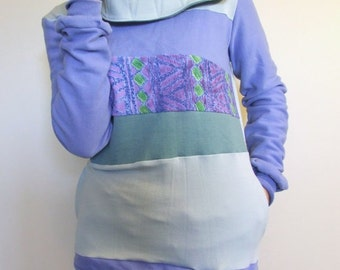 SALE!! AWESOME - Hoodie Sweatshirt Sweater - Recycled Upcycled - One of a Kind Women - SMALL