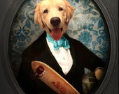 Golden Retriever Animal Photography Dog Print Pet Portrait Skateboard Gifts for Veterinarians Pet Lover Lonely Pixel Print - Z-Dogs