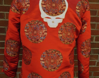 Grateful dead red Chinese applique jacket