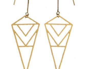 ON SALE Diamond Triangle Gold Earrings