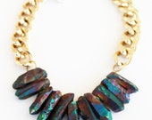 Rocked Up - Chunky mermaid rainbow [semi precious] crystal quartz on heavy gold curb chain.
