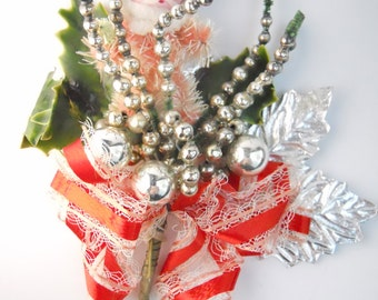MERCURY GLASS 1950s SANTA  boutonniere- As-Is condition