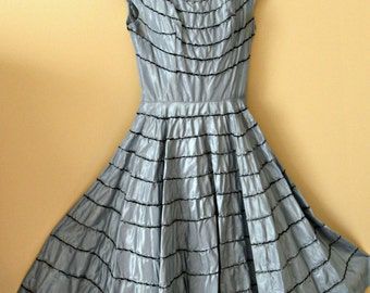 Vintage 1950's, 1960's gown / dress. Wedgewood blue taffeta, full skirt. Vintage size 9.