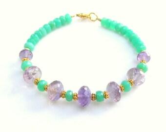Chrysopase & Amethyst Bracelet ~ Natural Gemstones and 14k gold vermeil