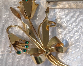 Corocraft Flower Brooch, Lily of the Valley Design, Large, Gold Wash, Signed Sterling, Emerald Green Rhinestones, Excellent Condition