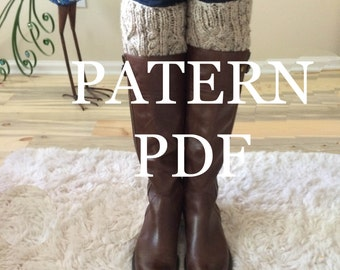 NEW Pattern - Short Boot Cuff PDF Pattern - Aran Cable - DIY Knitted Boot Cuffs