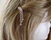 Waterfall Bobby Pin, Vintage Hair Embellishment, Bridal, Clear Rhinestone, Wedding, Bridal Updo