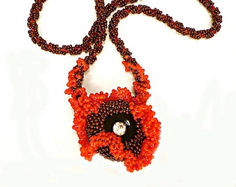 Coral Reef Necklace, Japanese Beads, Copper beaded, Beadwoven Necklace, Vintage Rhinestone Button Pendant