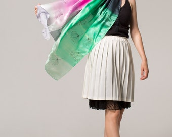 Hand painted silk Scarf- Neon Breeze/ Silk Shawl/ Ombre Silk Satin/ Painted scarves/ Pink Green Shawl Scarf/ Large Silk Shawl/ Decorative