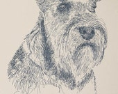 Miniature Schnauzer - Artist Kline draws his dog art using only words. Signed 11x17 Lithograph 43/500 - Your Dogs Name added Free
