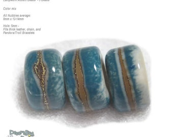 NUBBIES 61 Lampwork Bead Handmade BIG HOLE  Natural Ivory Blue Silvered Beads  -- fits 5mm leather and  Euro-Style