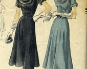 Vintage 50s Vogue 7188 Misses Classy Dress with Gored Bell Skirt and Deep Scoop Neckline Sewing Pattern Size 16 Bust 34