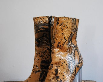 Stunning Vintage John Fluevog Snakeskin Ankle Boots with Clear Lucite Heels