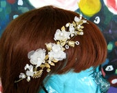 Golden Blossom halo headband bride brass gold pearl crystal leaves flowers