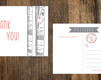 Birch Aspen Tree Thank You Postcards in Grey and Red - 10 pack