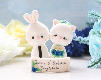 Unique wedding cake toppers Bunny & Kitty Cat - bride groom figurine rabbit rustic personalized animal white royal blue calla lilies bouquet