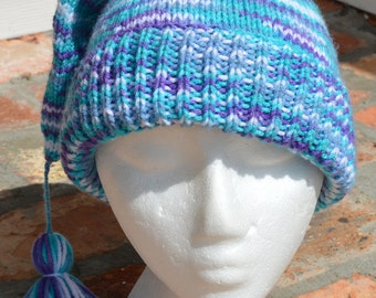 Berry Knitted Stocking Cap with Tassle