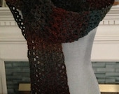 new crochet handmade V-stitch long fashion scarf lion brand TWEED STRIPES yarn WOODLANDS brown blue red orange 5 inches x 8 feet