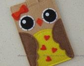 "iPhone sleeve, felt iPhone sleeve, iPhone case, felt iPhone case, iPhone bag, iPhone 4s sleeve, iPhone 4s case, ""red heart owl design"""