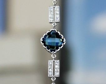 Faceted Sapphire Blue Crystals Set in Silver with CZ Links on a Silver Bracelet, Choose Clasp Of Choice
