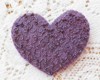 Handmade Felt Heart Shaped, Lavender Heart Brooch / Pin / Broach with Hand Stitching / Embroidery and Pearly Purple Beads Embellishments