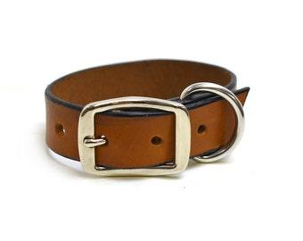 Tan Leather Dog Collar - Cognac Thick Plain Leather Collar - Puppy Collar