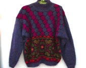 Hand Knit Mohair Pullover Sweater Colorful Stain Glass Motif Fuzzy Warm Jewel Colors Jumper Lg