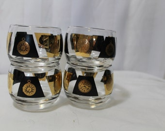 Set of 4 Mad Men Style Small Roly Poly Martini Glasses With Black & Gold Clock Designs