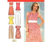 Womens Dress or Top & Pants Pattern Simplicity 4583 Empire Waist Dress Midriff Band Trousers Womens Sewing Pattern Plus Size 20 to 28 UNCUT