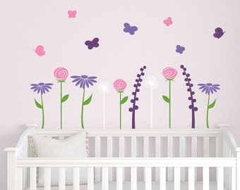 Butterfly Garden Wall Decal - Nursery Decal - Baby Bedroom Decor - Butterfly Wall Decal