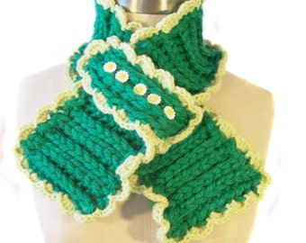 Crocheted Scarflette - Green with Daisy Buttons