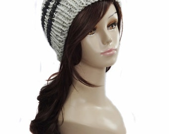 Thick Knit Hat   Skullcap   Knit Hat   Oatmeal and Black Striped Hat