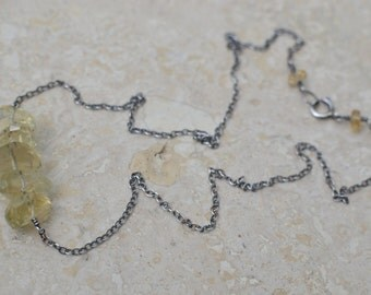 Citrine Necklace - Faceted Citrine Gemstone Nuggets with Oxidized Sterling Silver - Mellow Yellow by SplendorVendor
