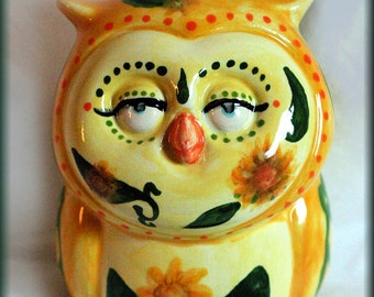 Sunflower Owl-Ornament-3rd in a Limited Series By Lady TPowers