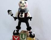 Folk Art Halloween Skeleton Decoration Art Doll - Toney SkeleBoney