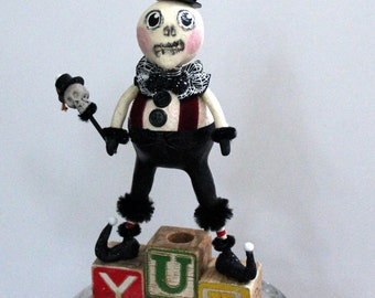 Folk Art Halloween Skeleton Decoration Art Doll - Toney SkeleBoney