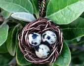 Bird's Nest Pendant - Copper and Jasper - by Ethora