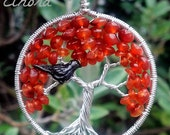 Blackbird in Autumn Tree Pendant - Recycled Sterling Silver - Original Design by Ethora