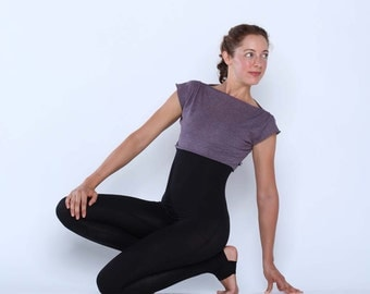 On sale!! Cropped tee bolero shrug - Yoga top - yoga clothes - dance wear - fitness - gym. Plum size SM or ML