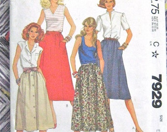 Vintage McCall's 7929 1970s Extra Large Misses' Skirt  Sewing Pattern
