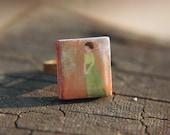 Hand Painted Ring Edwardian Era Inspired Adjustable Band  - Mrs. Primrose.