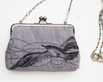 Clutch Purse Flying Bird Free Motion Embroidery
