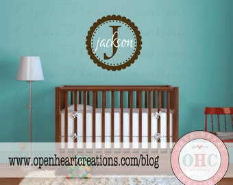 Kids Wall Decal - Initial and Names Personalized Baby Nursery Monogram Vinyl Wall Lettering FN0069