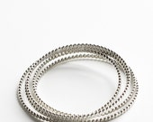 """Set of five silver stacking bangles, modern bracelet design of flattened beaded wire oxidized to show contrast - """"Reyna Bangles - set of 5"""""""