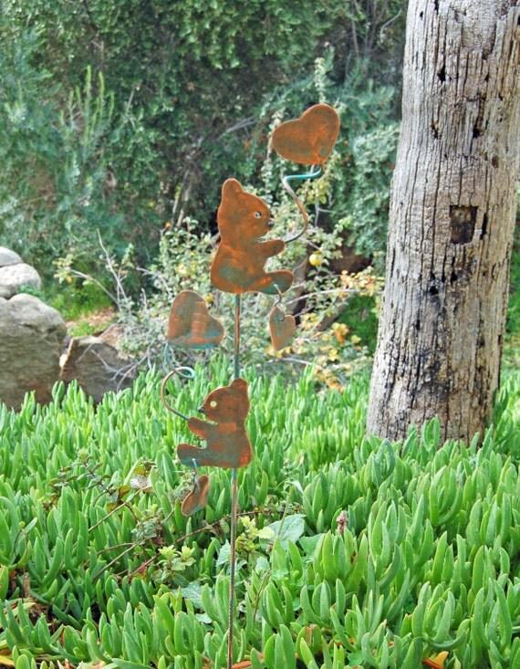 Bear Plant Stake Garden Lawn Ornament Metal Copper Yard Art