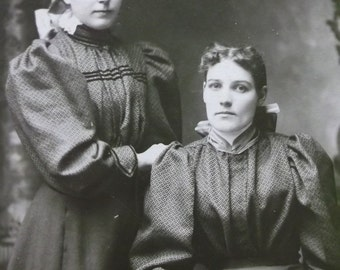 Pretty Sisters - Ladies - Great Fashion Dresses - Bows - Hairstyle - Antique Cabinet Photo